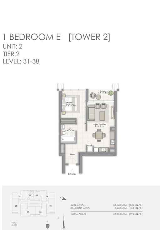 1-Bedroom-E-D-Tower-2-Unit-02-696-SqFt