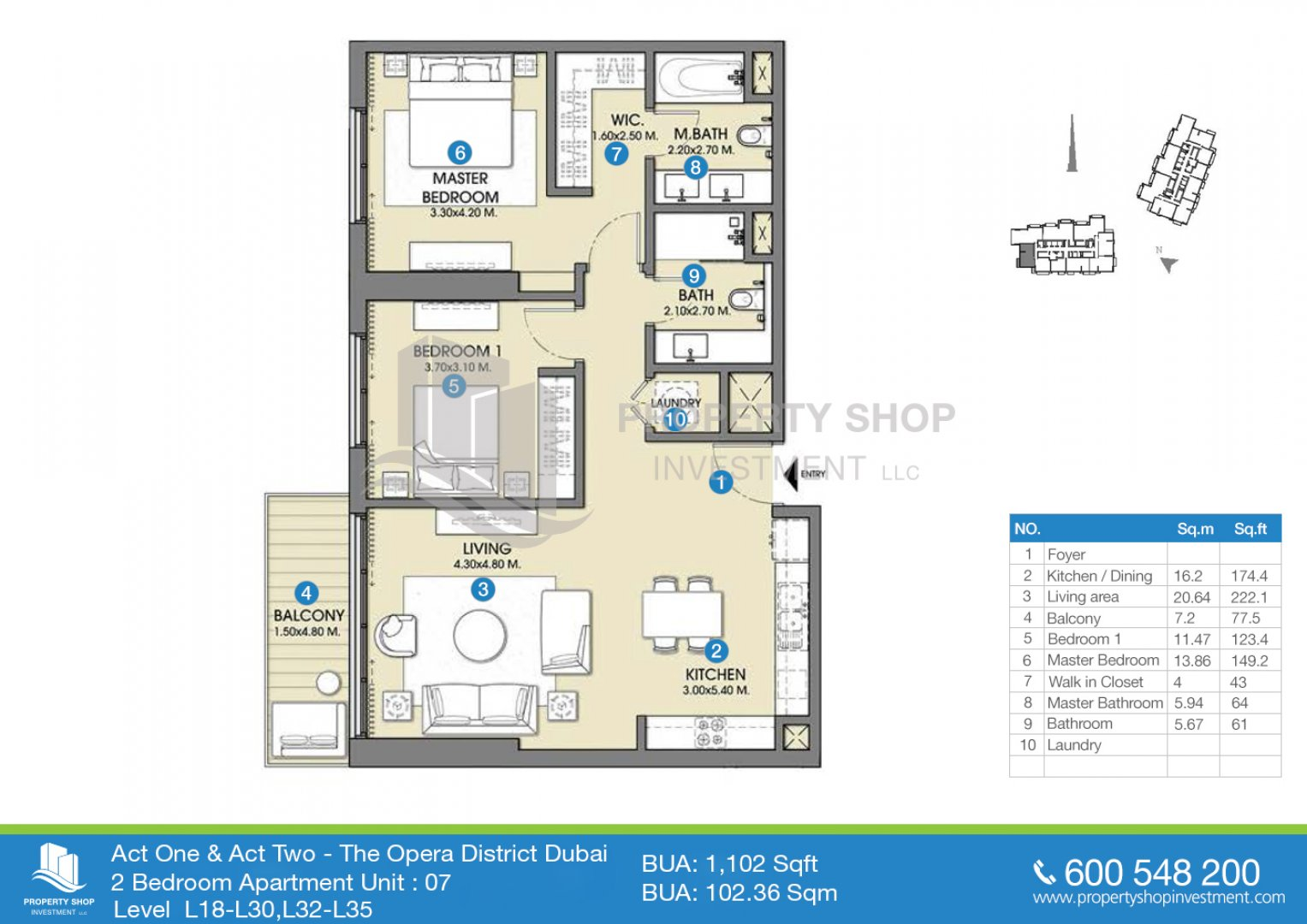2 bedroom-unit-07-bua-1102-sqft-act one-and-two-dubai
