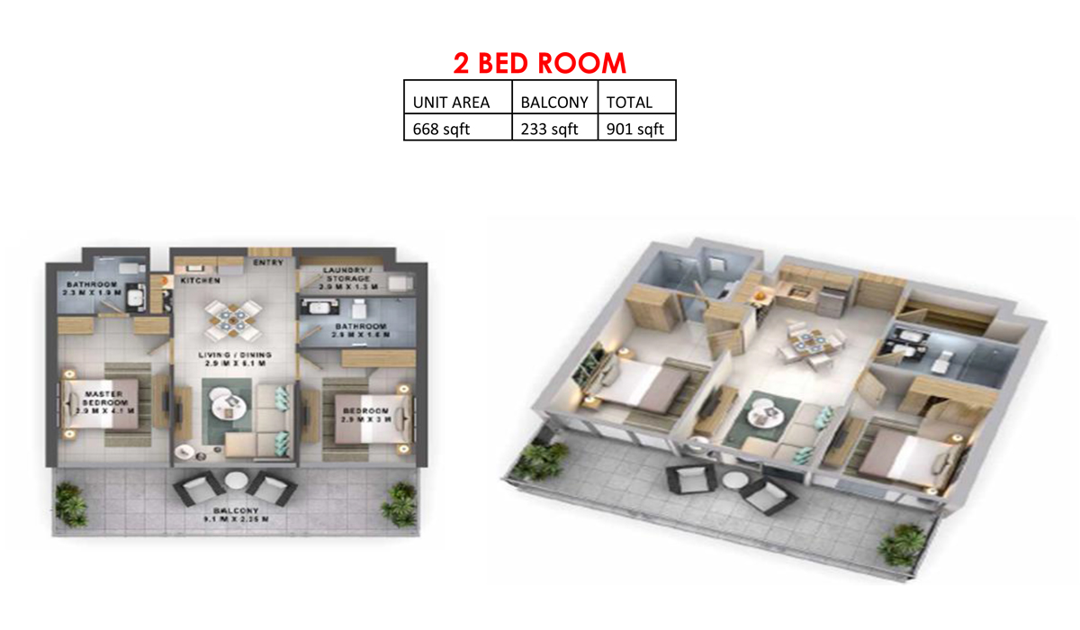 Reva Heights at Business Bay-2 Bedroom