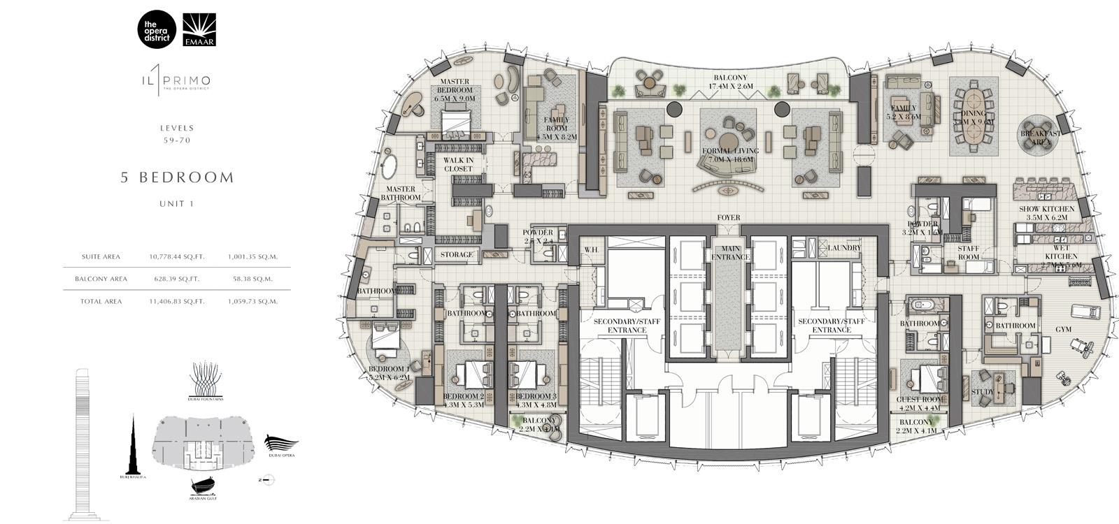 5 Bedroom Unit 1, Size 11406 sq ft