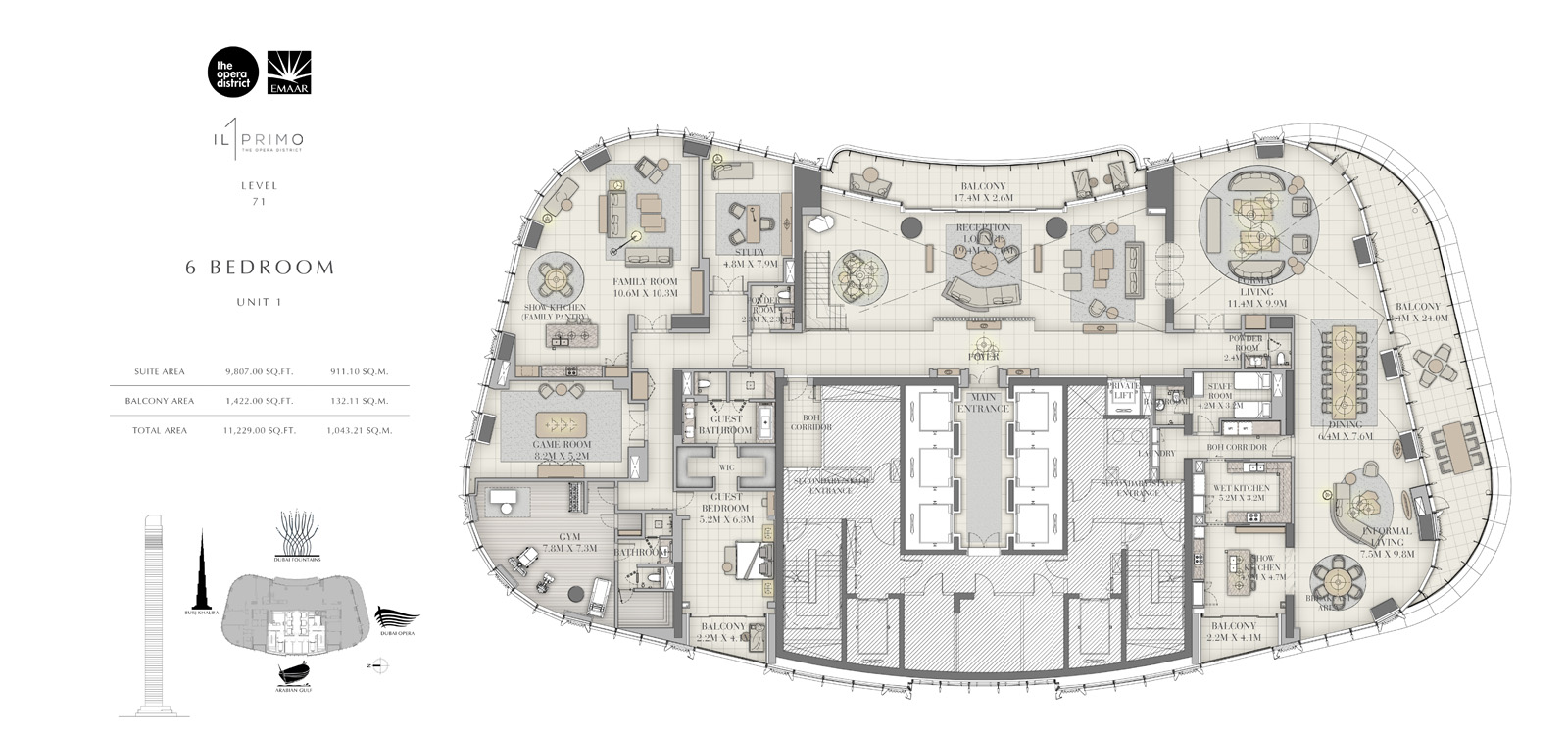 6 Bedroom Unit 1, Size 11229 sq ft