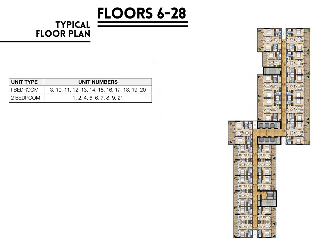 1 & 2 Bedroom Apartment 6th Floor