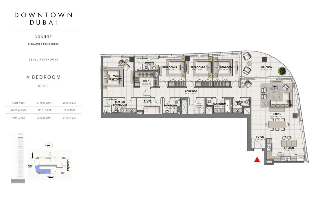 4 Bedroom Level Penthouse Unit-1 Size 2350.30 Sq Ft