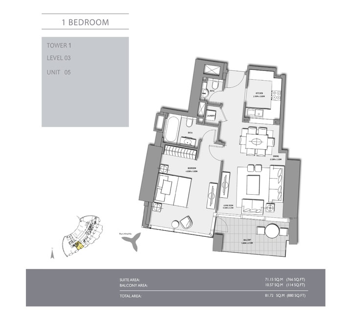 1-Bedroom,Tower-1,Size-880-Sq Ft