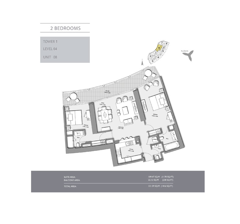2-Bedroom,Tower-1,Size -1416 - sq.ft
