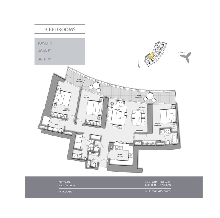 3-Bedroom,Tower-1,Size-1736 - sq.ft