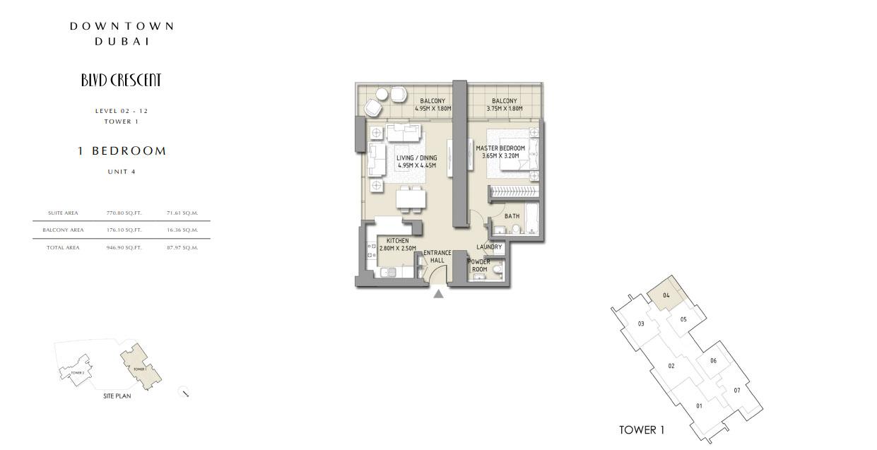 1 Bedroom Apartment Unit 4, size 946 Sq.Ft