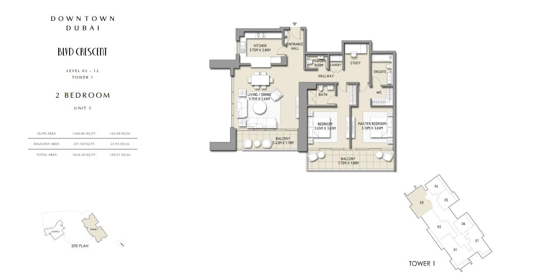 2 Bedroom Apartment Unit 3, Size 1624 Sq.Ft
