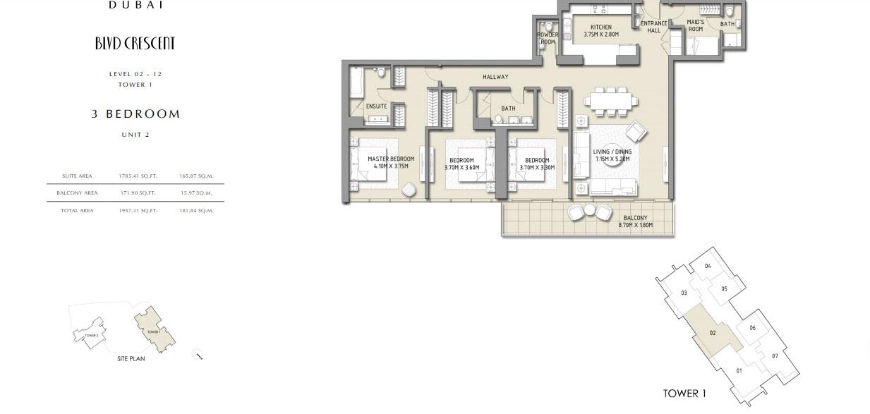 3 Bedroom Apartment Unit 2, Size 1957 Sq.Ft