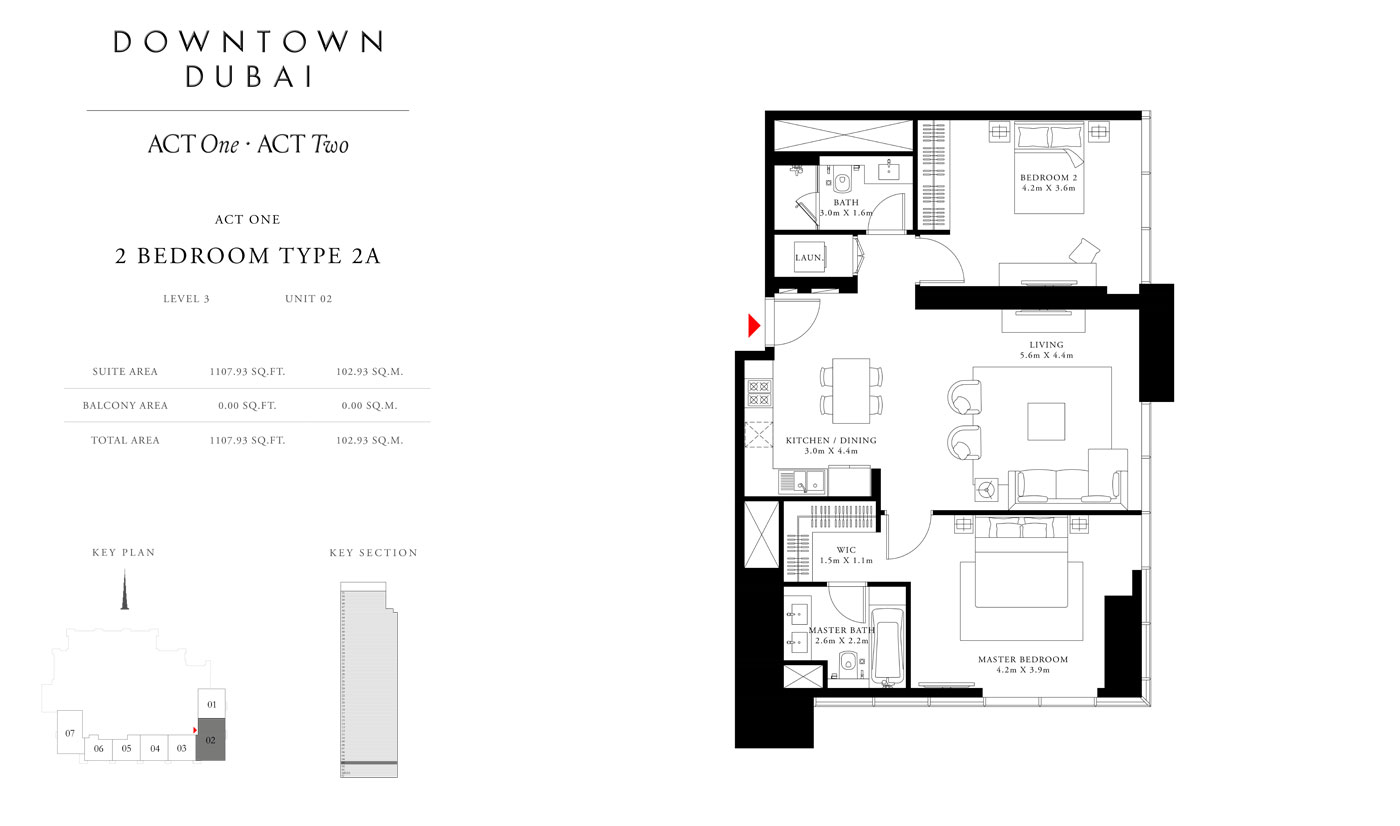 Act Tower One, 2 Bedroom Type 2A,Size 1107.93 Sq.ft