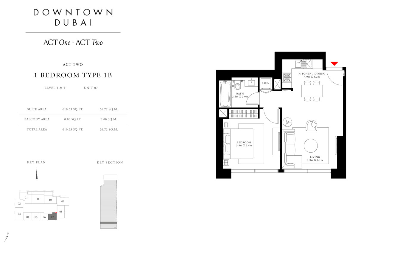 Act Tower Two,1 Bedroom Type 1B,Size 610.53 Sq.ft