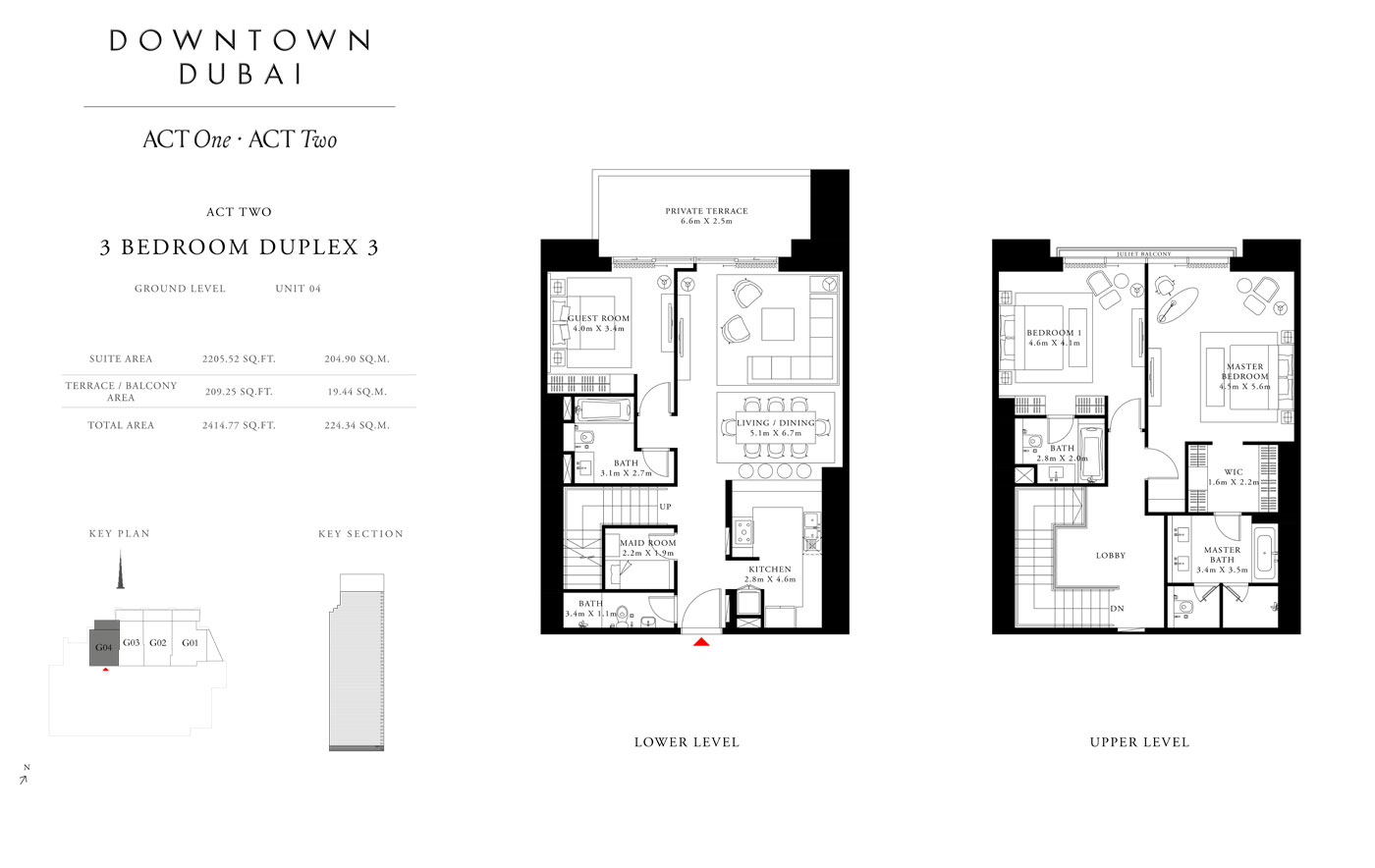 Act Tower Two,3 Bedroom Duplex 3,Size 2414.77 Sq.ft