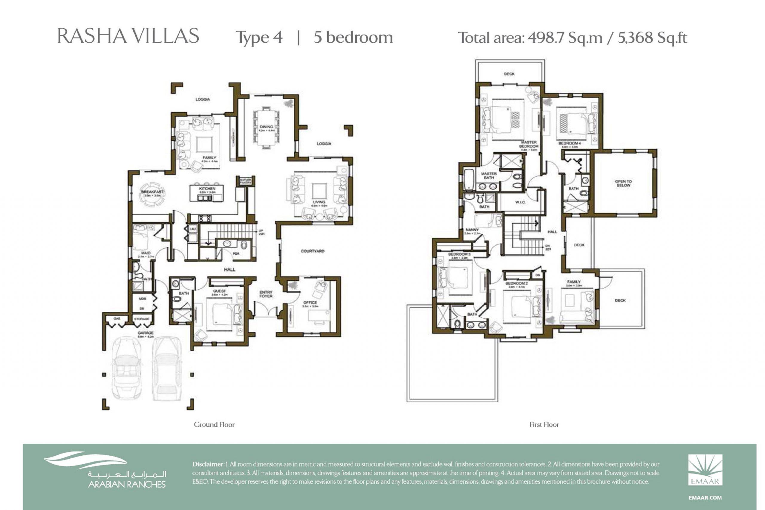 Rasha Villas Floor Plan 5BR