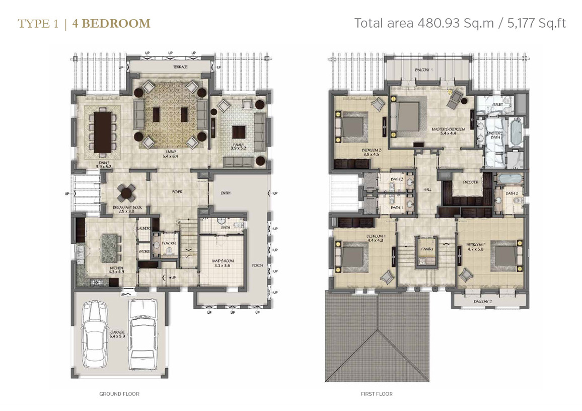 Type 1, 4 Bedroom Size 5177 Sq.ft