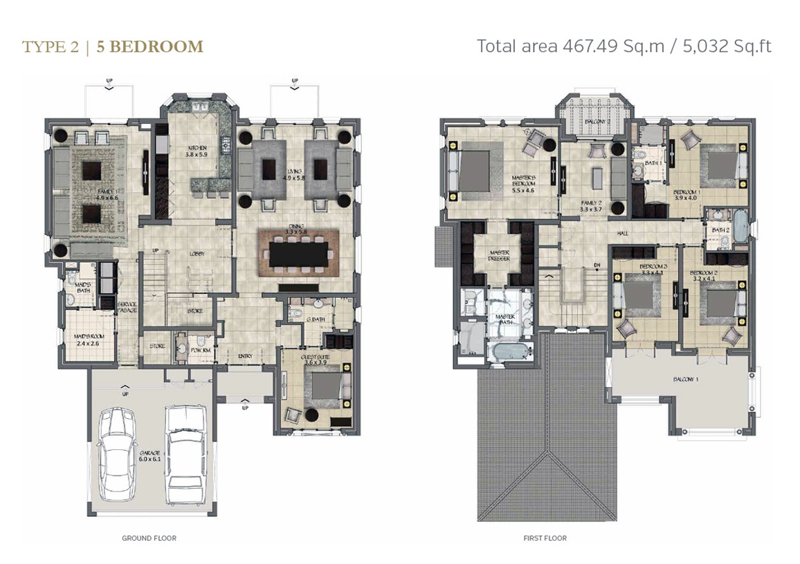 Type 2, 5 Bedroom Size 5032 Sq.ft