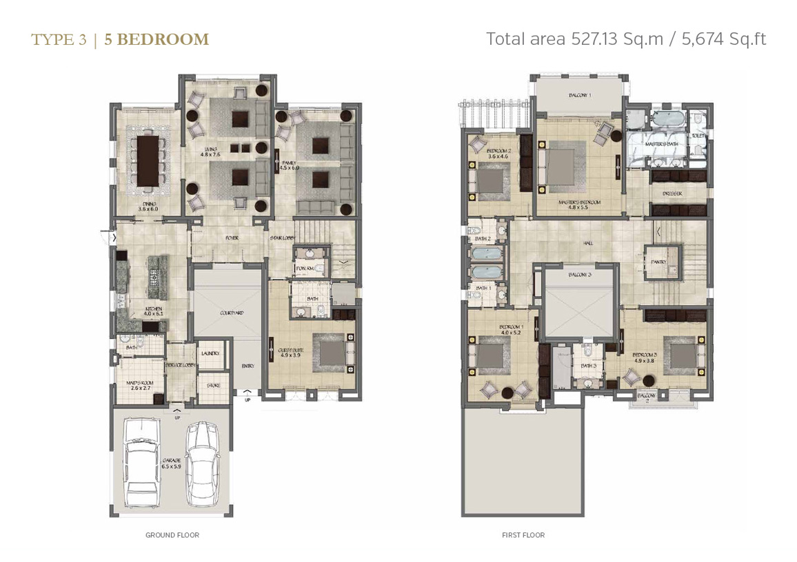 Type 3, 5 Bedroom Size 5674 Sq.ft