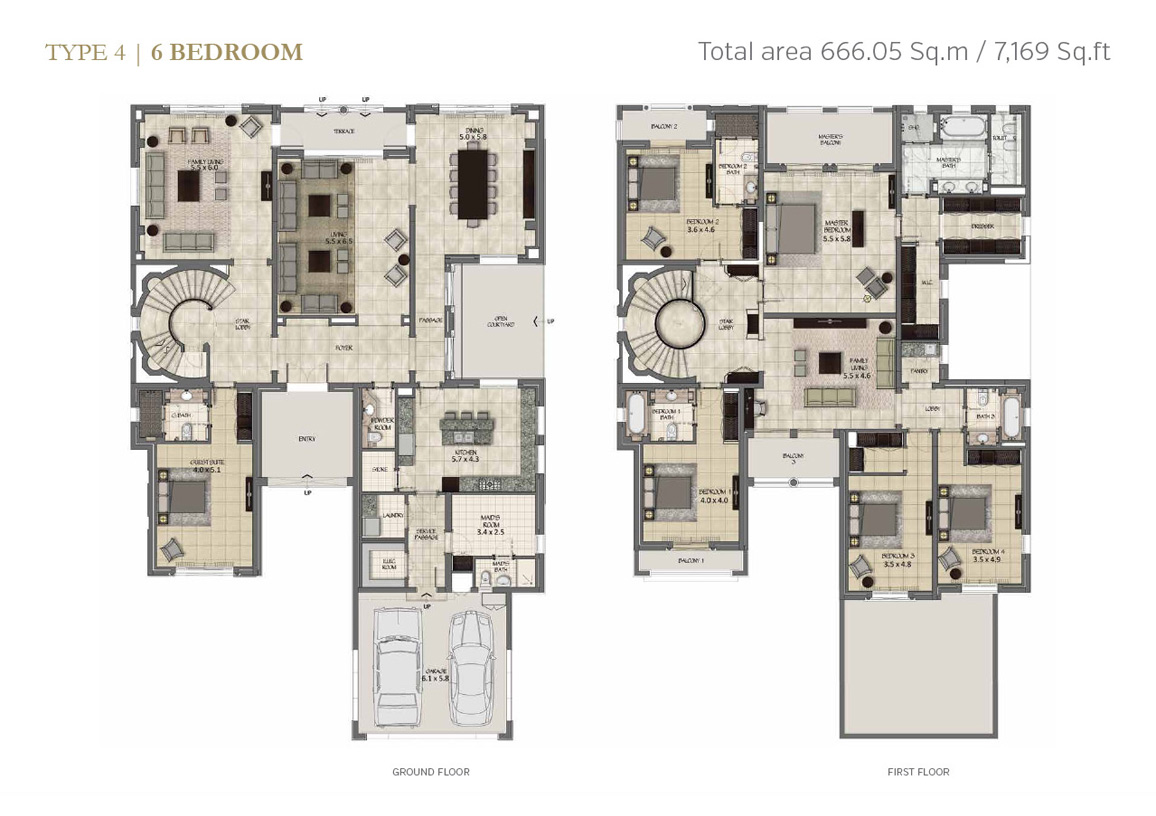 Type 4, 6 Bedroom Size 7169 Sq.ft