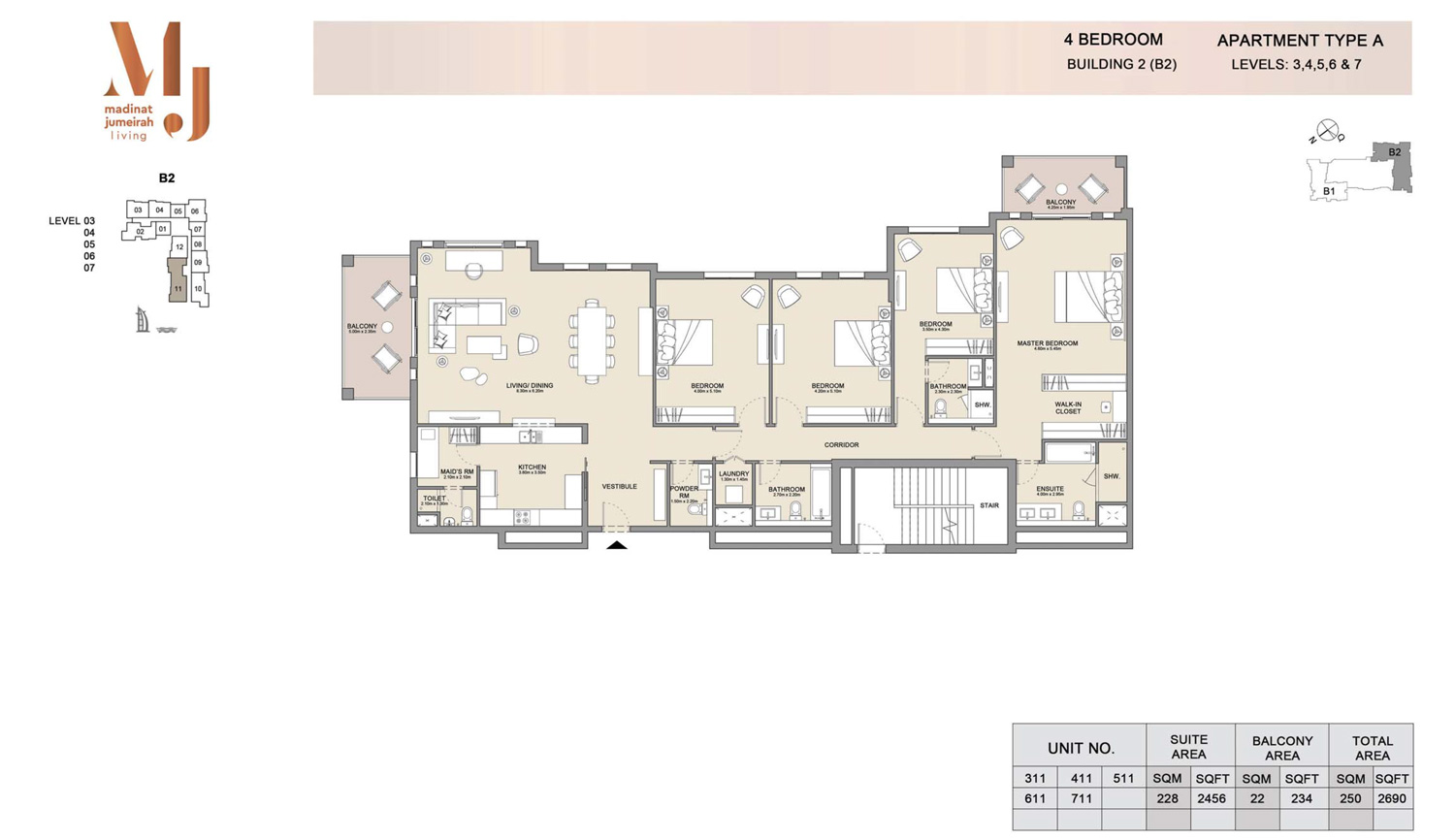 4 Bedroom B 2, Type A, Levels 3 to 7, Size 2690 sq.ft