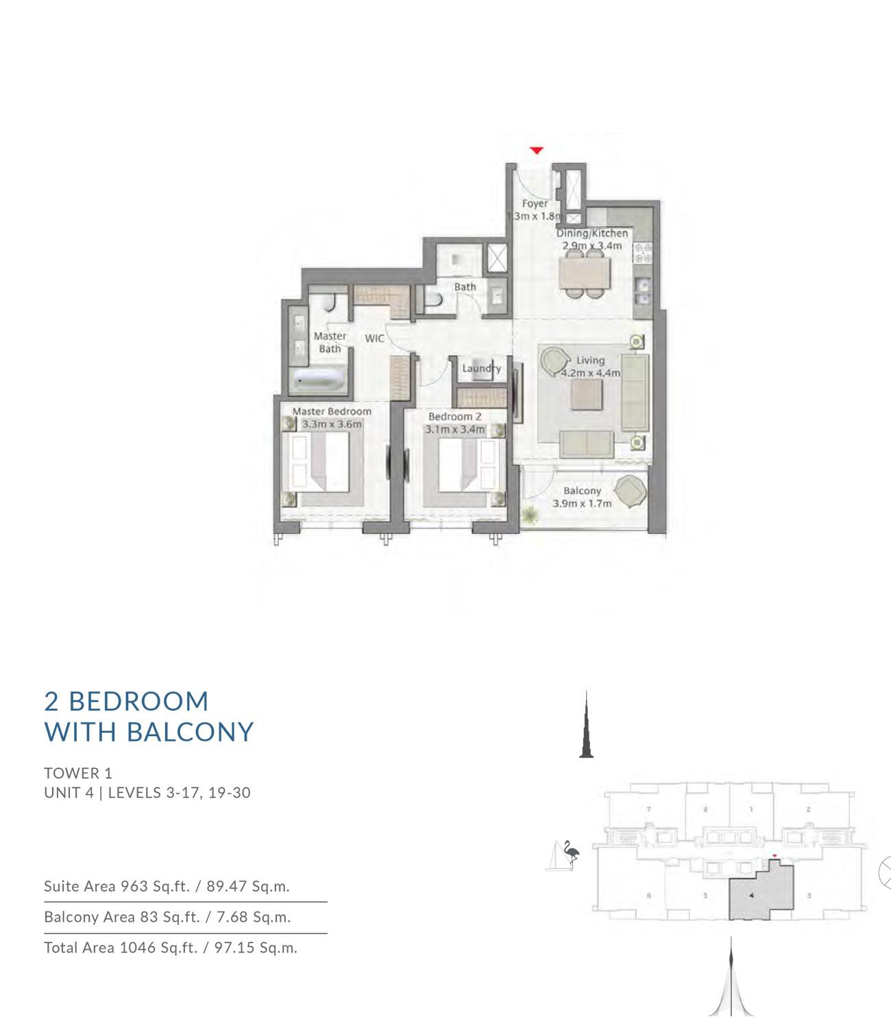 2 BEDROOM -Floor Plan
