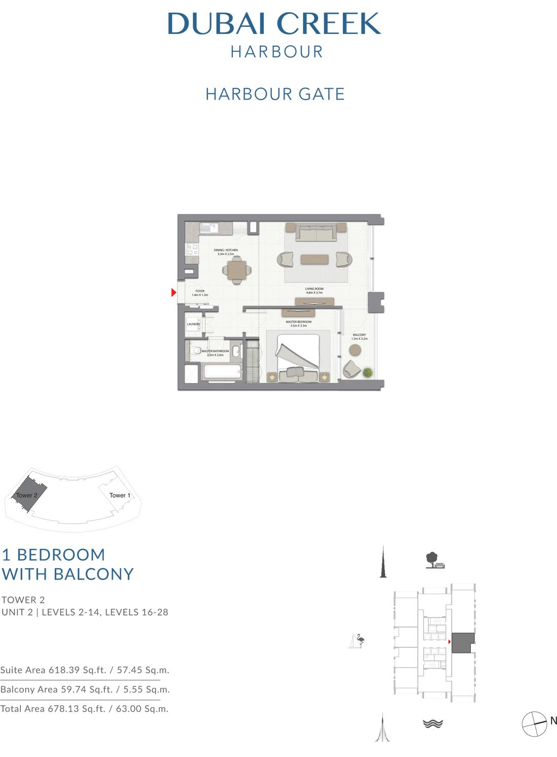 1 Bedroom Tower 2