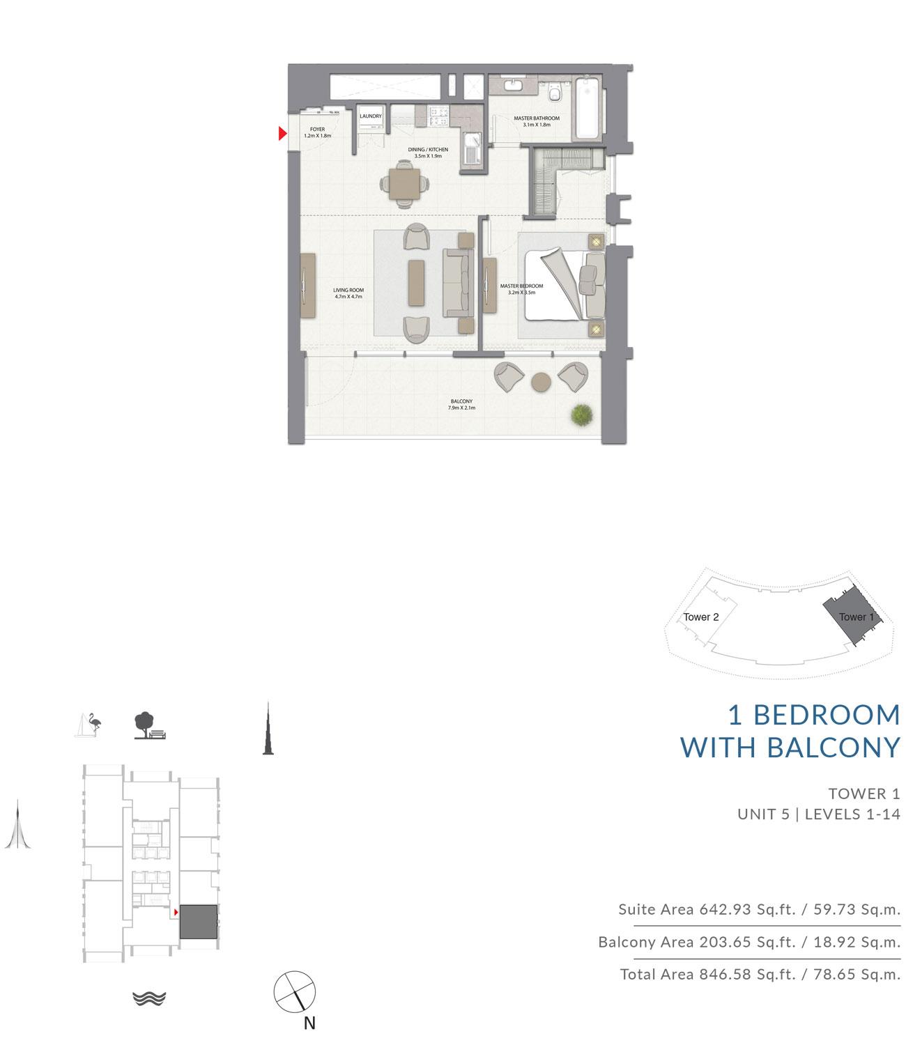 1 Bedroom Tower 1