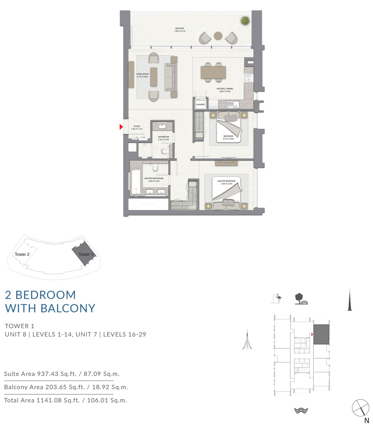 2 Bedroom Tower 1