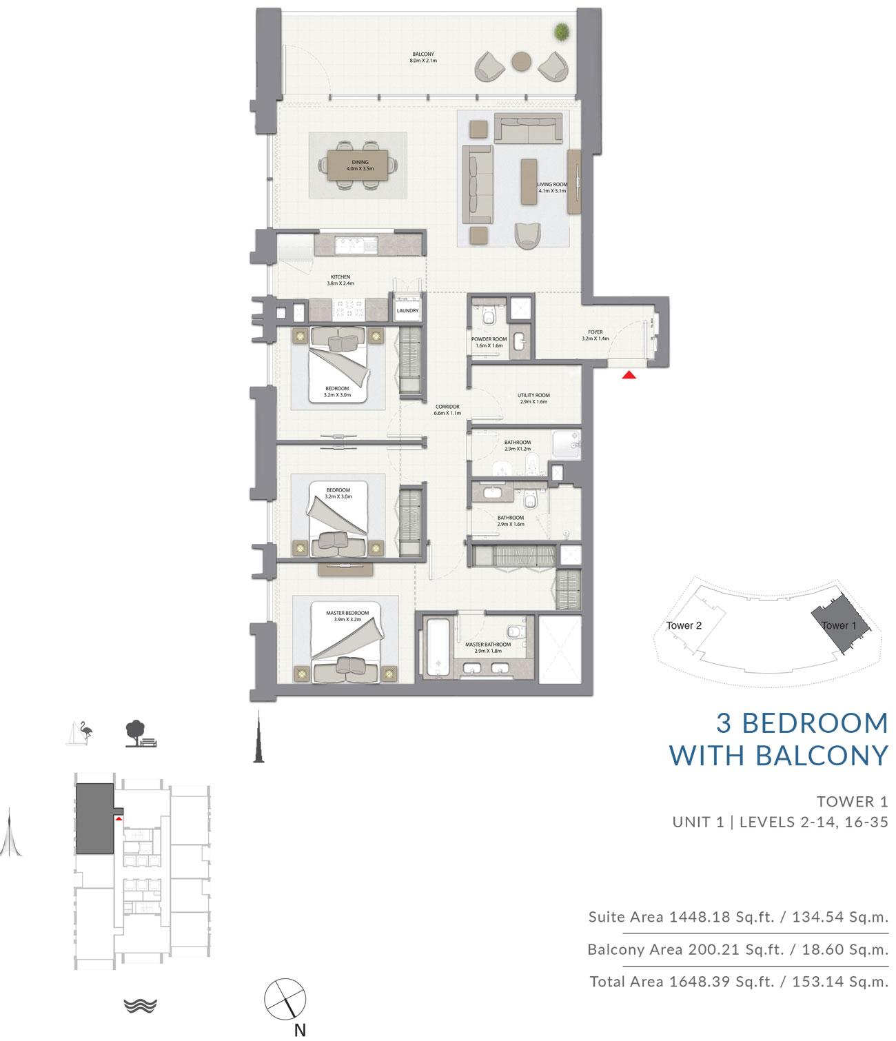3 Bedroom Tower 1