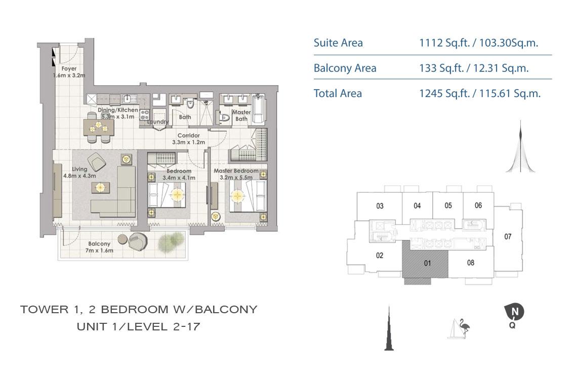2 BEDROOM - Floor Plan