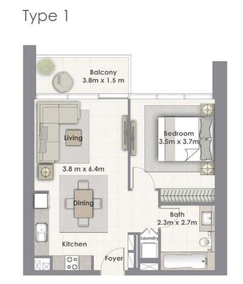 1 BEDROOM - Floor Plan