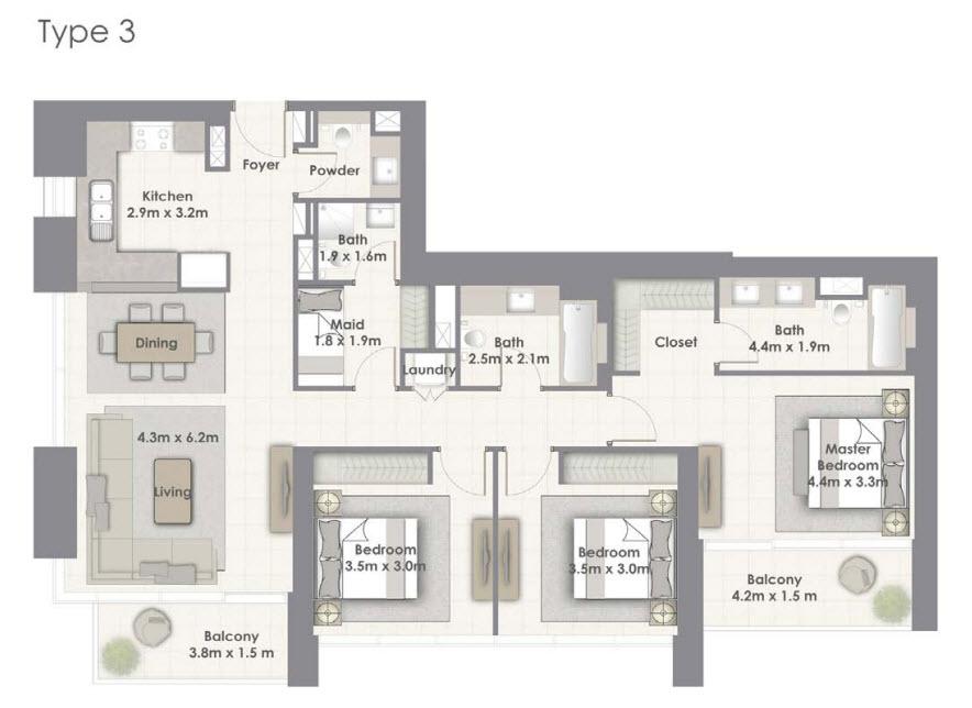 3 BEDROOM - Floor Plan